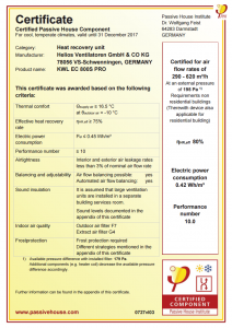Passive House Component Certification